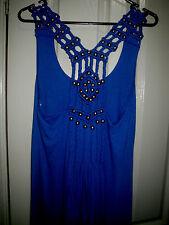 Paper Heart Blue Maxi Dress Viscose Racer Back Braid Brass Bead Strap  8 10