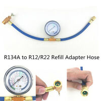 Car Air Conditioning Coolant Refill Hose R134A to R12/R22 Adapter Pipe + Gauge