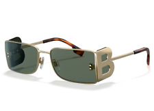 Genuine Burberry Kingdom Gold Green Rectangle Sunglasses Be 3110 1017/3h