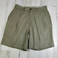 Tommy Bahama Mens Sz 32 Olive Green Silk Casual Khaki Shorts Pleated 8 in Inseam