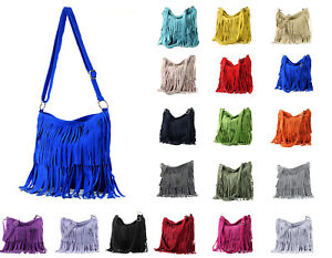 New Women Italian Suede Leather Fringed Shoulder Handbag Crossbody Messenger Bag