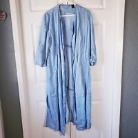 M Chico's Black Label 1 chambray midi duster cardigan jacket denim jean blue