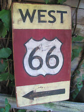 Route 66 ~ WEST 66 Sign ~ Highway Vintage-Look ~ Yellow Burgandy