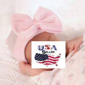 Newborn Girls Baby Hat Hospital Hat Big Bow Newborn Hospital Hat