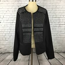 Torrid Plus Size 2 Black with Silver Studs Open Cardigan Jacket Lined Studded