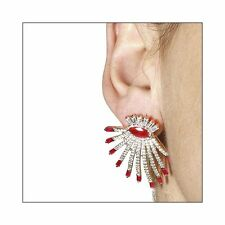 STUNNING DROP STUD EARRINGS W/ LAB DIAMONDS & RUBY  / SZ 35MM BY 31MM