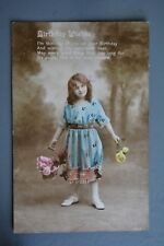 R&L Postcard: Greetings, Birthday, Girl with Basket of Flowers, Tinted