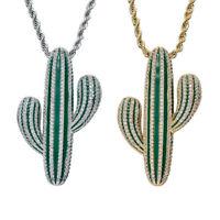 18 Karat Gold Kubikzircon Charms Kaktus Anhänger Halskette Hiphop Schmuck
