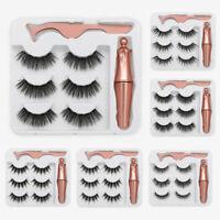 3PCS Cils Magnétiques Liquide Eyeliner Gel Faux Parfait 3D Cils Naturels F
