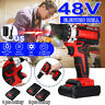 48V Eletric Cordless Drill Screwriver Set Combi Driver 2 Li-Ion Batteries Charge