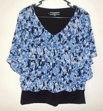 Basque size 12 blue black top blouse butterfly sleeves NEW floaty feminine
