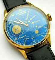 Space conquest, Cosmos, Solar system in a mechanical USSR wristwatch Cal. 3602.