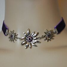 Edelweiss Chain Purple Necklace Traditional Jewelry Choker Choker