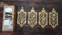 "Lot of 4 VINTAGE SYROCO TOLEDO GOLD FLORAL WALL PLAQUES NOS 13.5"" x 5.5"" each"