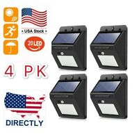4PK 20 LED Solar Power Light PIR Motion Sensor Garden Security Wall Lamp Outdoor