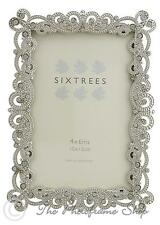 Sixtrees Matilda Vintage Ornate Silver 6x4 inch photo frame beads and crystals