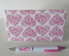 Ribbons & Hearts Breast Cancer Awareness Checkbook Cover With Free Pen