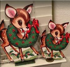 Cutest Ever Vintage Look Beistle Dear Reindeer Cardboard Cutouts 6PCS 10in to 14