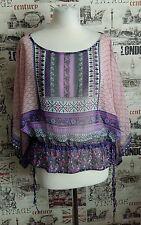 NEW LOOK Boho Aztec Summer Holiday Party Top Sheer Chiffon size 12 UK