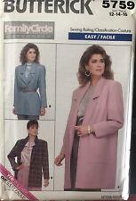 Butterick Family Circle pattern 5759 Misses'/Petite Jacket size 12, 14, 16 uncut