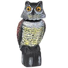 Realistic Owl Decoy Rotating Head Weed Pest Control Crow Scarer Scarecrow