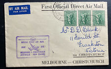 1951 Melbourne Australia First Flight Cover Ffc To Christchurch New Zealand