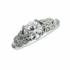 1.40 Ct Diamond Engagement Rings 18K Solid White Gold Wedding Rings Size 6 7 8 9