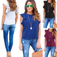 Women Solid Ruffle Sleeve Hips Summer Chiffon Tops T-Shirt Casual Blouse S L XL