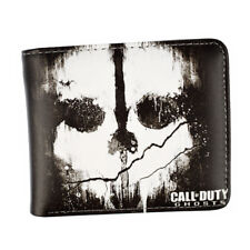 Call of Duty Ghosts Skull Logo Pu Short Bifold Wallet Coins Cards Notes