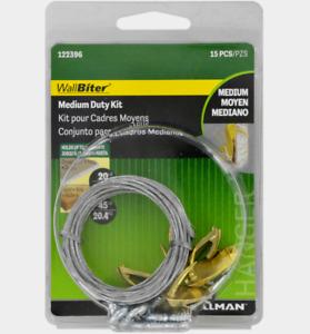 New! Hillman WALLBITER Brass-Plated Picture MEDIUM DUTY KIT 45 lb. 1 pack 122396