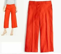 J Crew Poppy Red Linen Gazebo Cropped Trousers Culottes, size 10, New