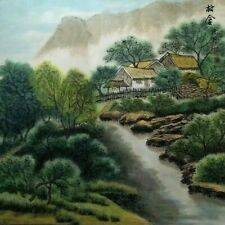 Oriental Painting Asian Watercolor on Silk Paper Landscape Village