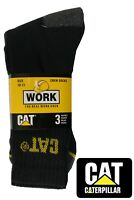 CAT Caterpillar Men's Heavy Duty Industrial Crew Work-wear Socks - 3 Pack
