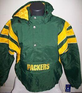 GREEN BAY PACKERS Starter Hooded Half Zip Pullover Jacket  XL  GREEN