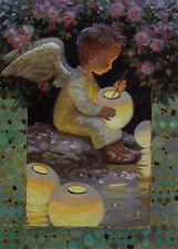 Very Rare Garden Angel with lanterns fantasy Nizovtsev Russian modern postcard