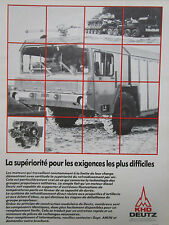 9/1982 PUB KHD DEUTZ MOTEUR DEUTZ MILITARY TRUCK PORTE-CHAR FAUN WERKE FRENCH AD