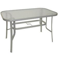 Gartentisch 70 x 120 x 73 cm aus Stahl und Glas Terrassentisch Balkontisch Tisch