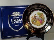 """New W/ Box Limoges Castel France 22kt Gold Rim Display Porcelain Plate 7-1/4"""""""