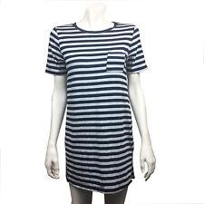 Womens One Clothing Medium Navy Blue Gray Striped Tunic Top M Cotton