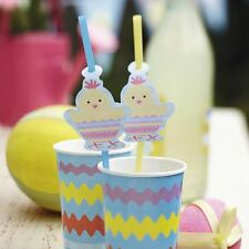 10 Easter Chick Party Drinking Straw Egg Hunt Table Ware Decor Cocktail Bar Gift