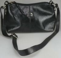 Cellini Black Cowhide Leather Women's Shoulder or Cross Body Bag Adjustable LH41