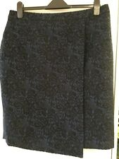 Mock Wrap Skirt AU16  - Blue & Black Brocade fabric (fully lined)