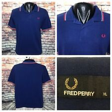 Fred Perry Blue Pique Polo Shirt Mens Size XL