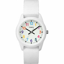 Kids Timex Time Teacher White Nylon Fabric Band Watch TW7C10300