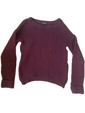Miss Selfridge Chunky Knit Cable Jumper Burgundy Size 6