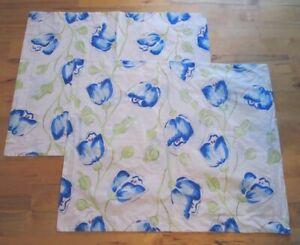 POTTERY BARN ~ Set of 2 Vintage 2000's ~ Blue WATERCOLOR TULIP Floral Euro Shams