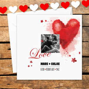 Personalised Photo Heart Valentines Day Card I Love You For Her Him Gift