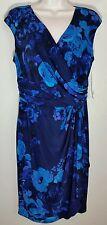 CHAPS by RALPH LAUREN Faux Wrap Sheath Dress Black Blue Floral Sz L NWT $100