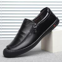 Men's Zipper Loafers Oxfords Slip On Leather Casual Shoes Driving Moccasins Size