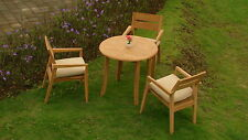 "4 PC OUTDOOR DINING TEAK SET - 36"" ROUND TABLE & 3 STACKING ARM CHAIRS CELLORE"